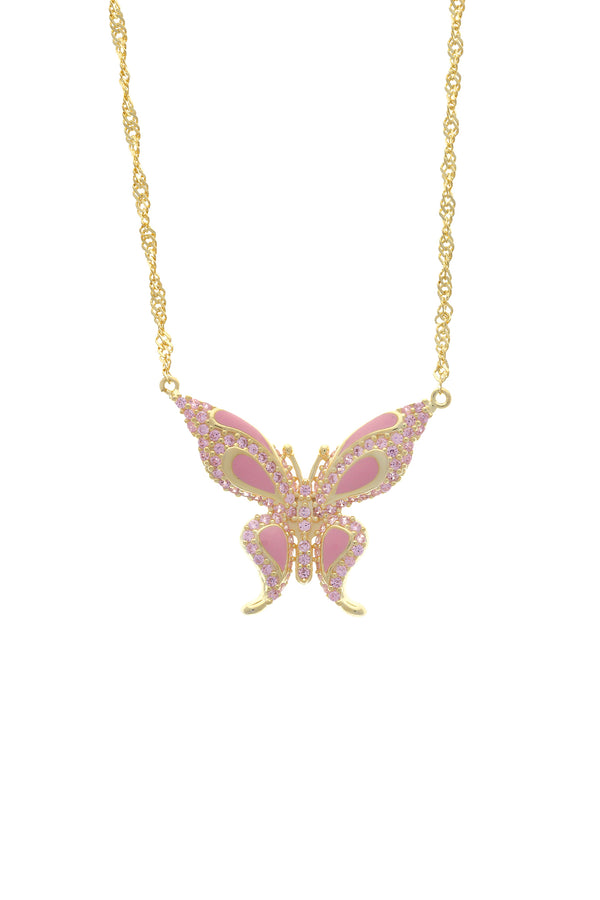 Pink Pixie Pavé Butterfly Vermeil Necklace