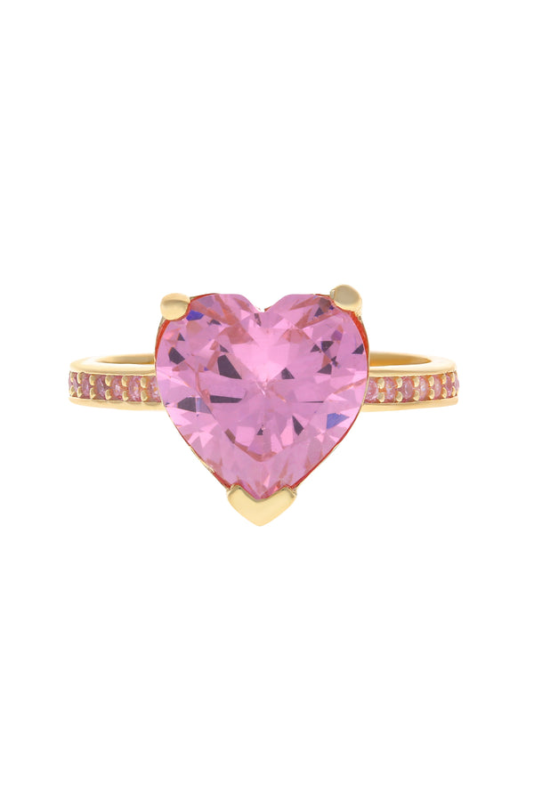 Pink Paris Heart Vermeil Ring image-Chvker Jewelry