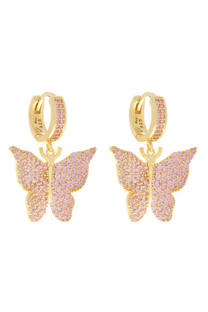 Pink Pavé Butterfly Vermeil Earrings-Chvker Jewelry