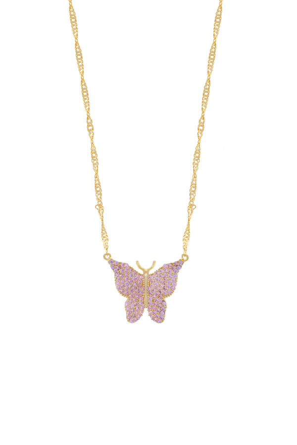 Pink Pavé Butterfly Vermeil Necklace-Chvker Jewelry