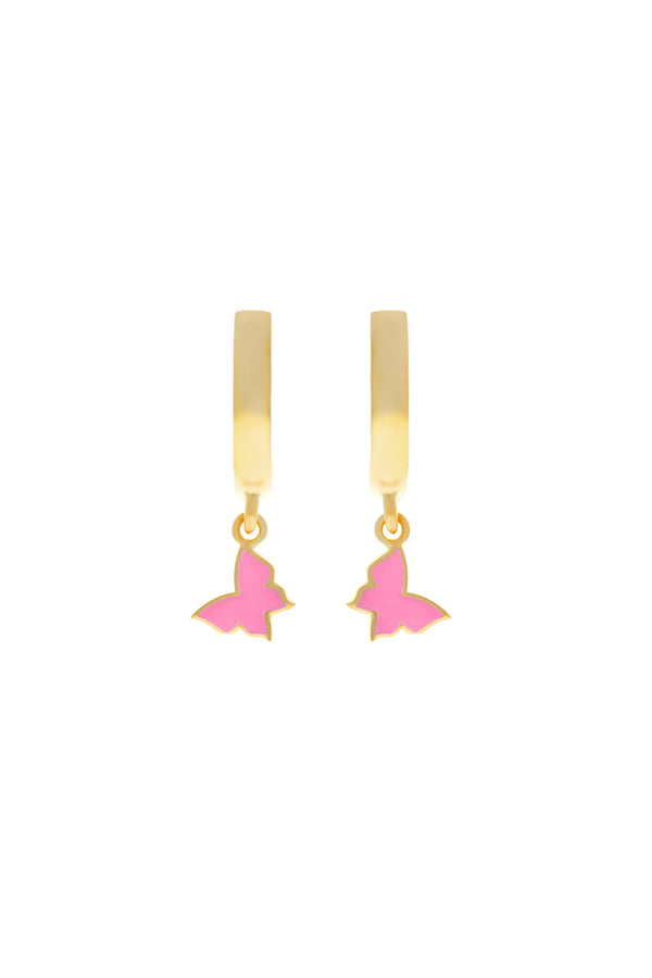 Pink Trixie Butterfly Vermeil Earrings-Chvker Jewelry