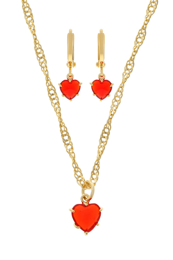 Red Gem Heart Set image-Chvker Jewelry