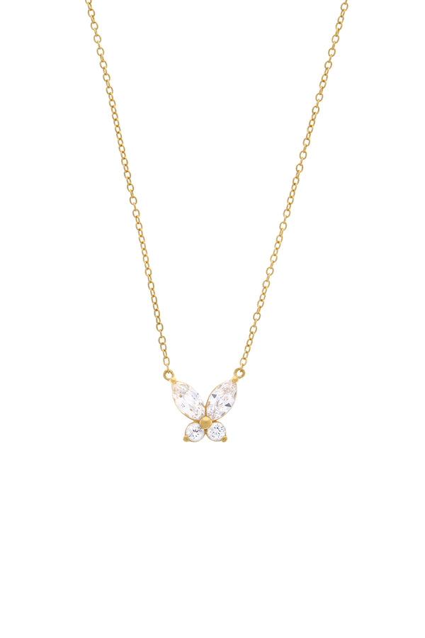 Remi Butterfly CZ Vermeil Necklace-Chvker Jewelry