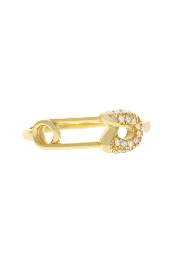 Sari Pavé Safety Pin Vermeil Ring-Chvker Jewelry