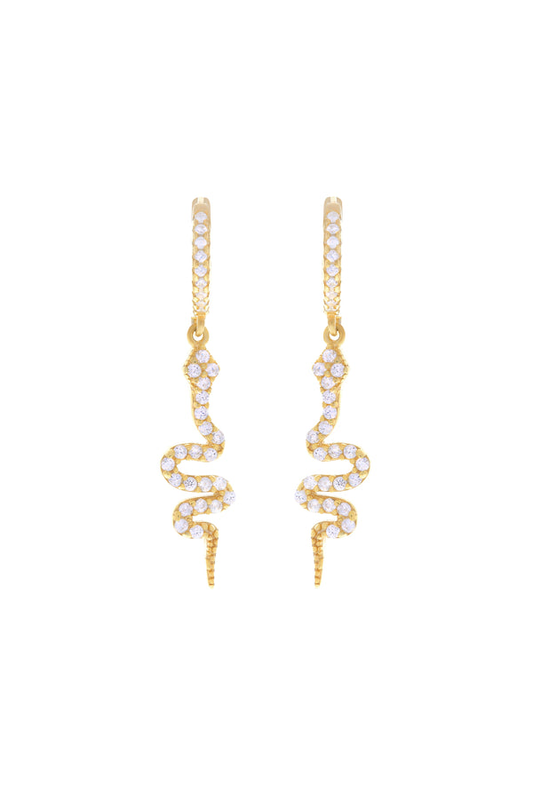 Serpiente Pavé Snake Vermeil Earrings image-Chvker Jewelry