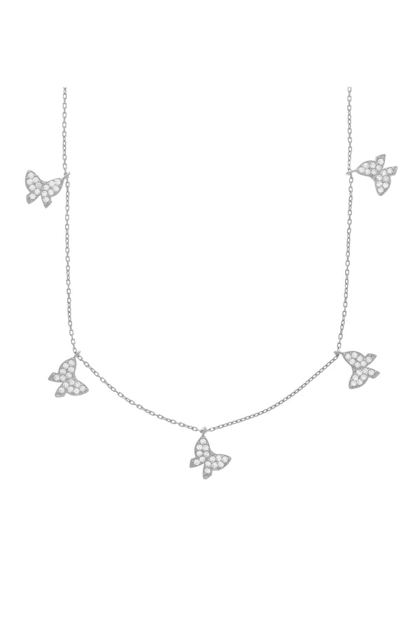 Silver Aria Pavé Butterfly Necklace-Chvker Jewelry