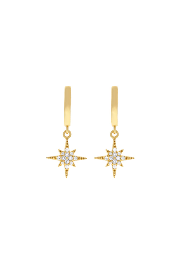 Starburst Pavé Star Vermeil Earrings-Chvker Jewelry