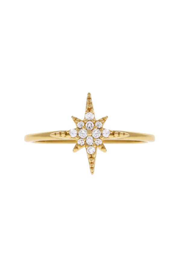 Starburst Pavé Star Vermeil Ring-Chvker Jewelry