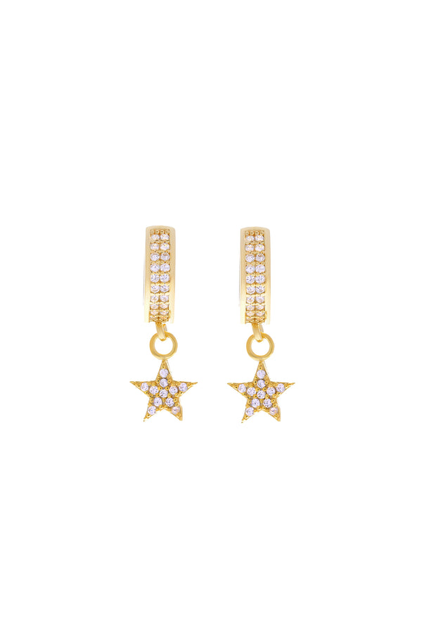 Stella Pavé Star Vermeil Earrings-Chvker Jewelry