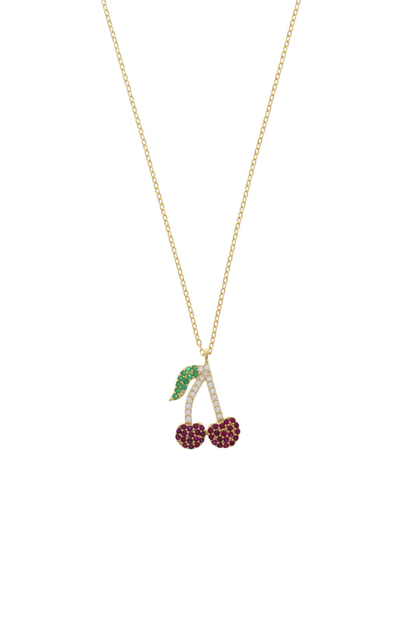 Very Cherry Pavé Vermeil Necklace-Chvker Jewelry