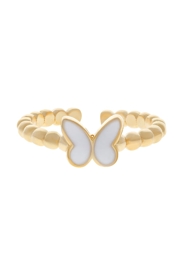 White Butterfly Beaded Vermeil Ring