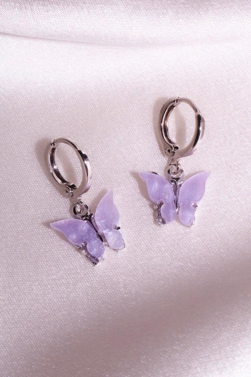 Silver Lavender Butterfly Earrings
