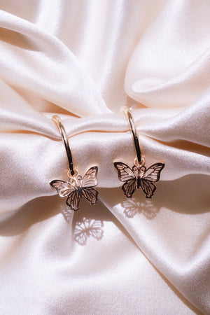 gold plated butterfly hoop earrings