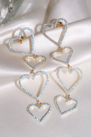 Blue Pavé Heart Drop Vermeil Earrings-Chvker Jewelry
