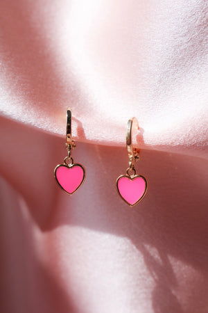 Neon Pink Heart Earrings-Chvker Jewelry