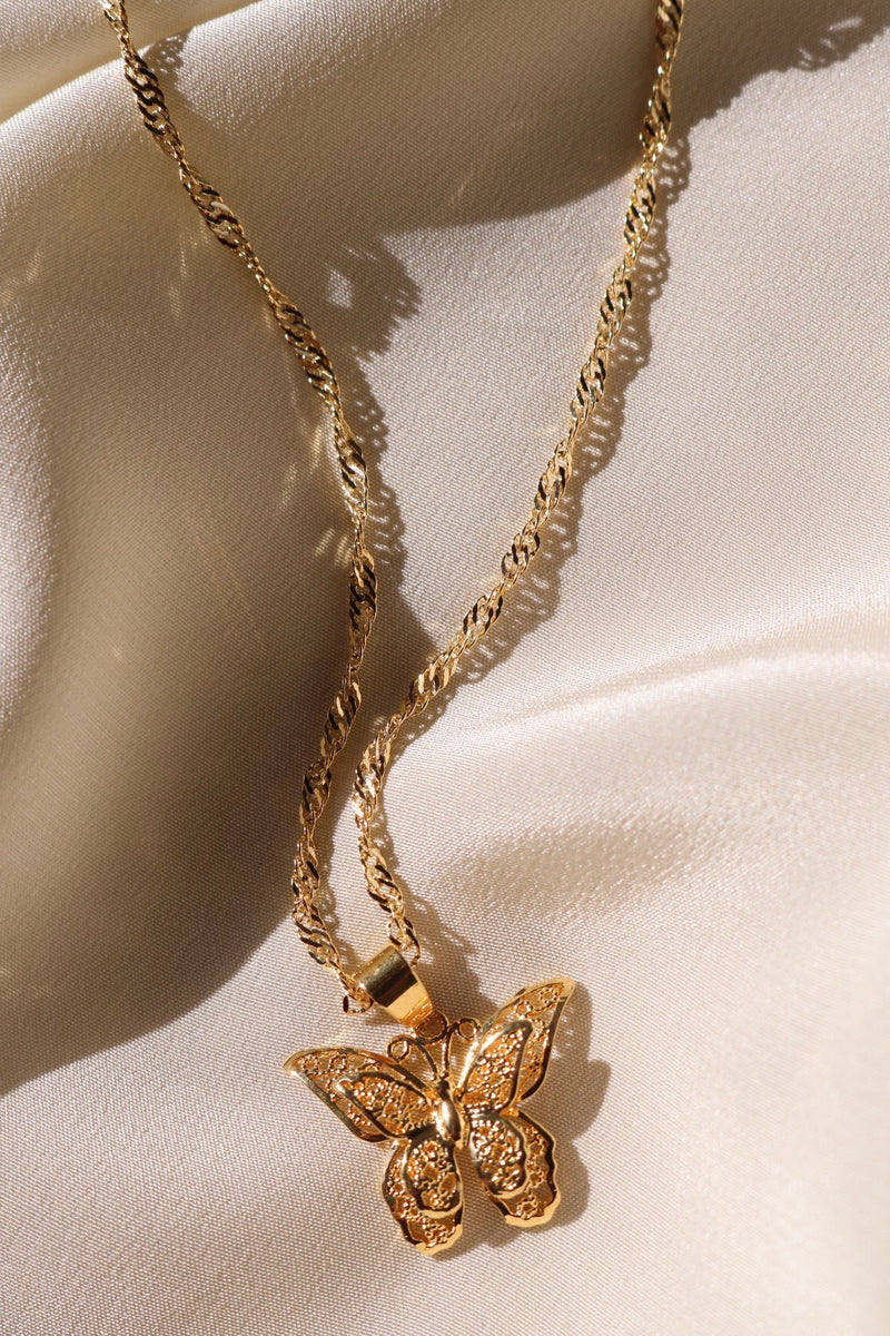 Cute Butterfly Necklace with 24K Gold Plating