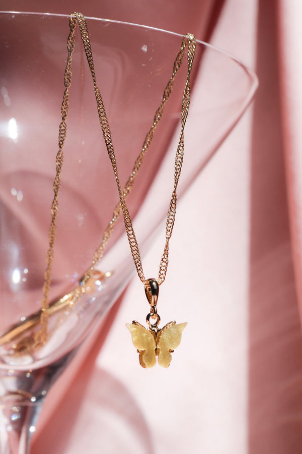 Yellow Butterfly Pendant Necklace