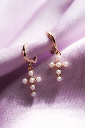 Cross Earrings with Pearl