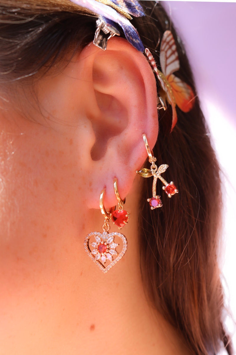 Heart Drop Earrings with White Stones and a Single Red Stone in the Center