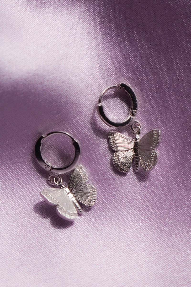 Cute Silver Butterfly Earrings
