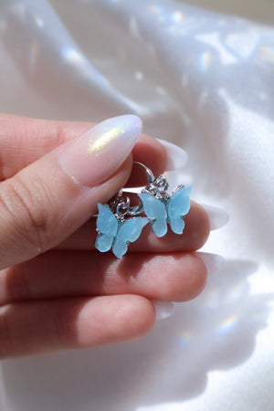 Silver Sky Butterfly Huggie Earrings