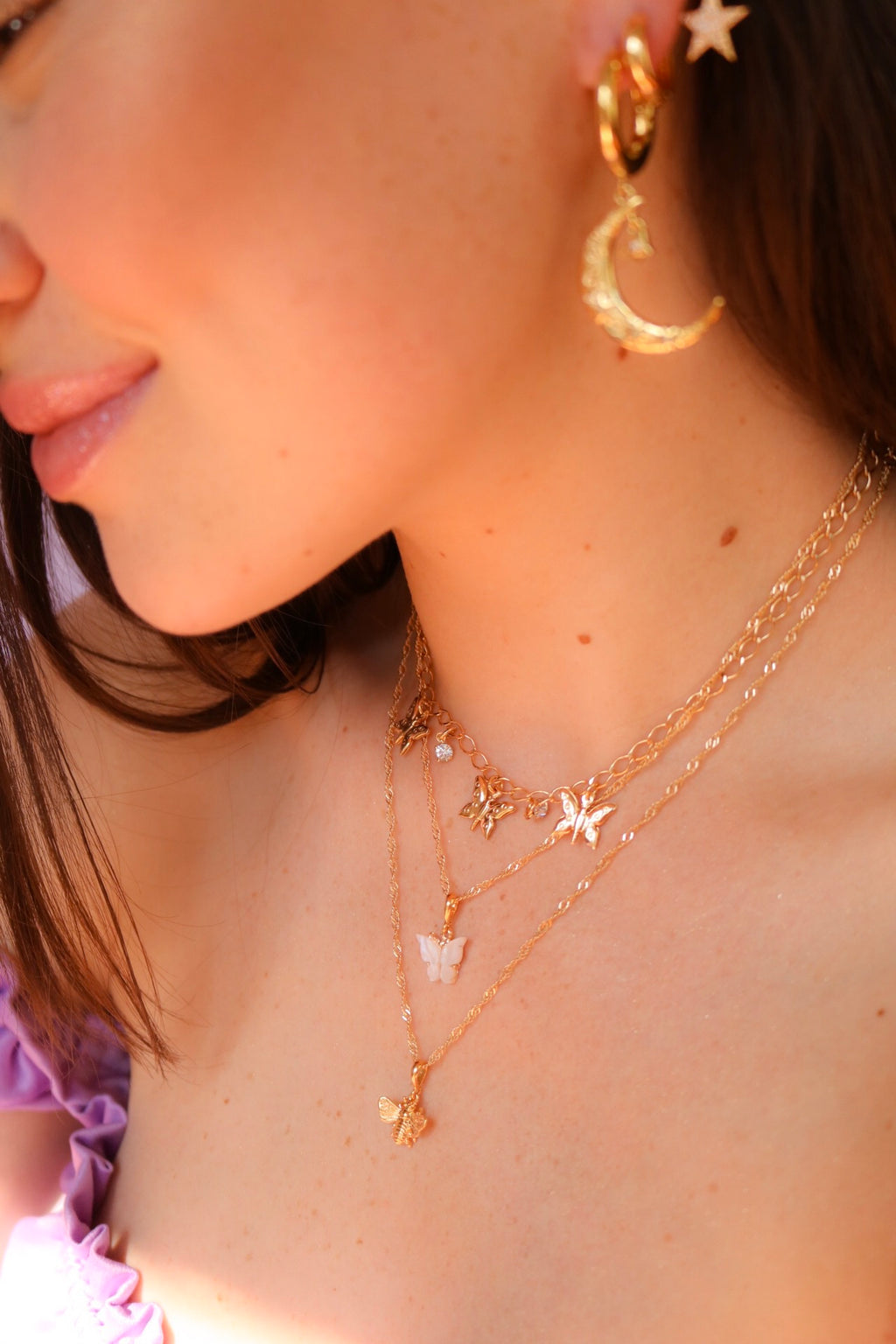 Gold Plated Pearl Butterfly Necklace