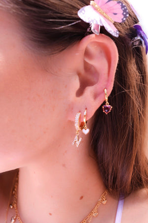 Pink Heart Drops Paired with other Earrings