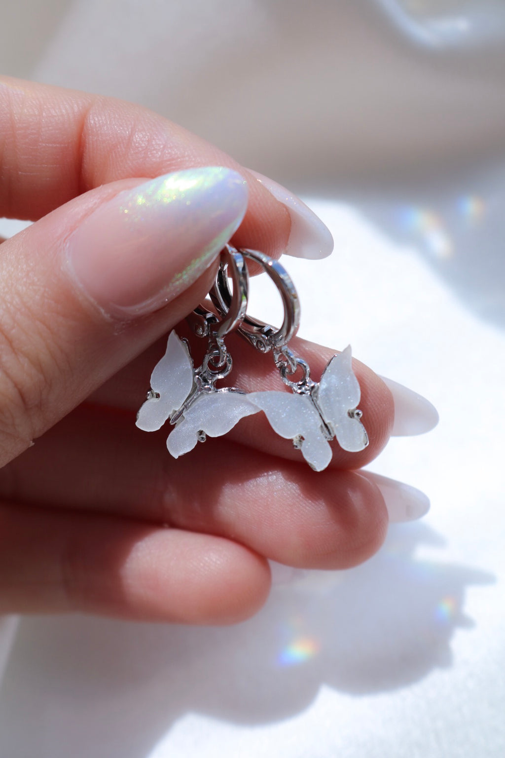 Silver Pearl Butterfly Earrings