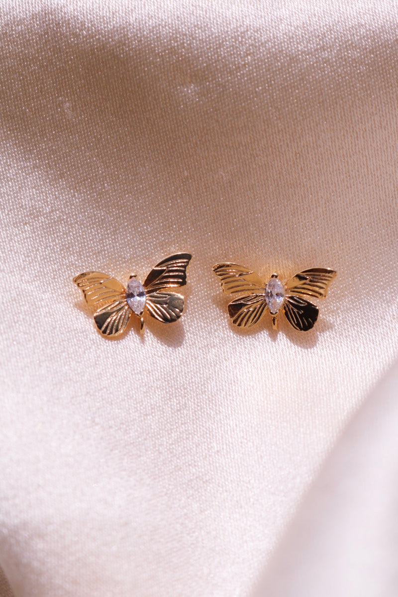 Gold Plated Butterfly Studs