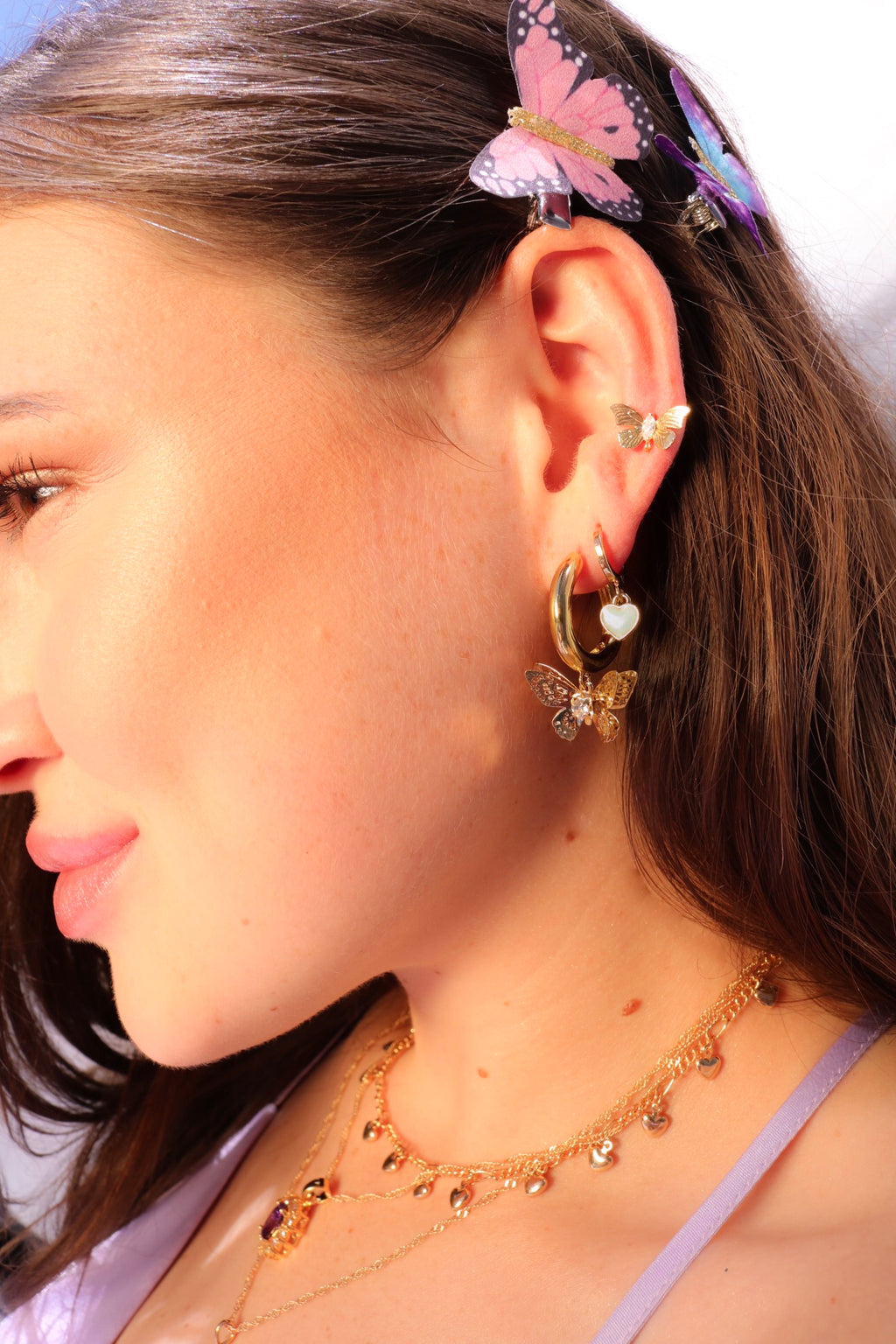 Gold plated blue heart earrings