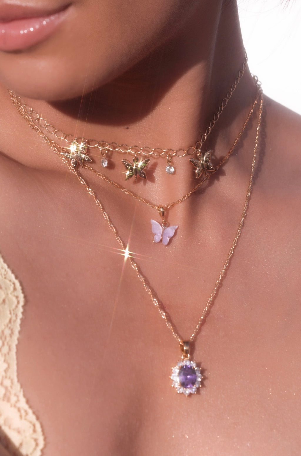 Lavender Butterfly Necklace-Chvker Jewelry