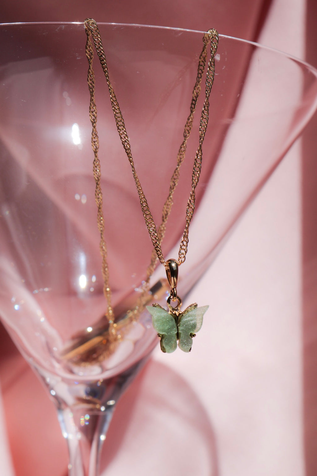 Mint Butterfly Necklace