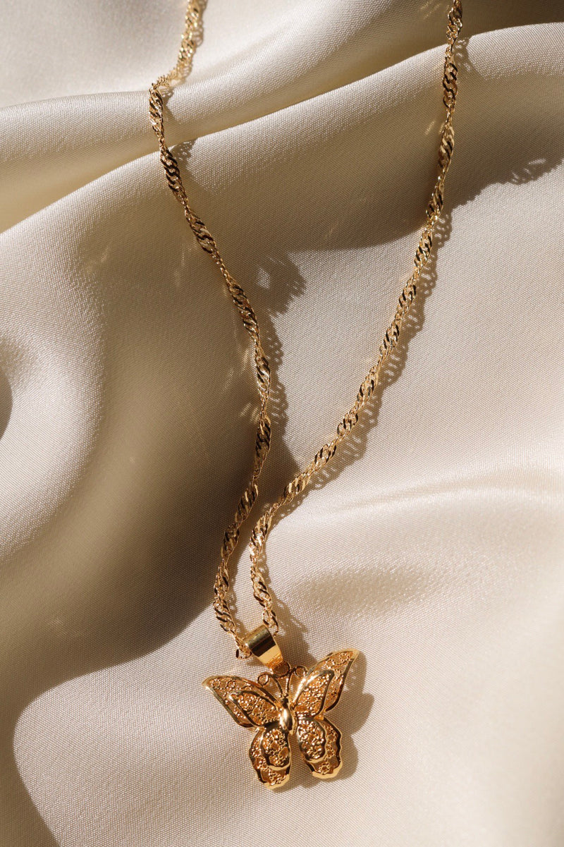 24K Gold Plated Chain and Butterfly Pendant