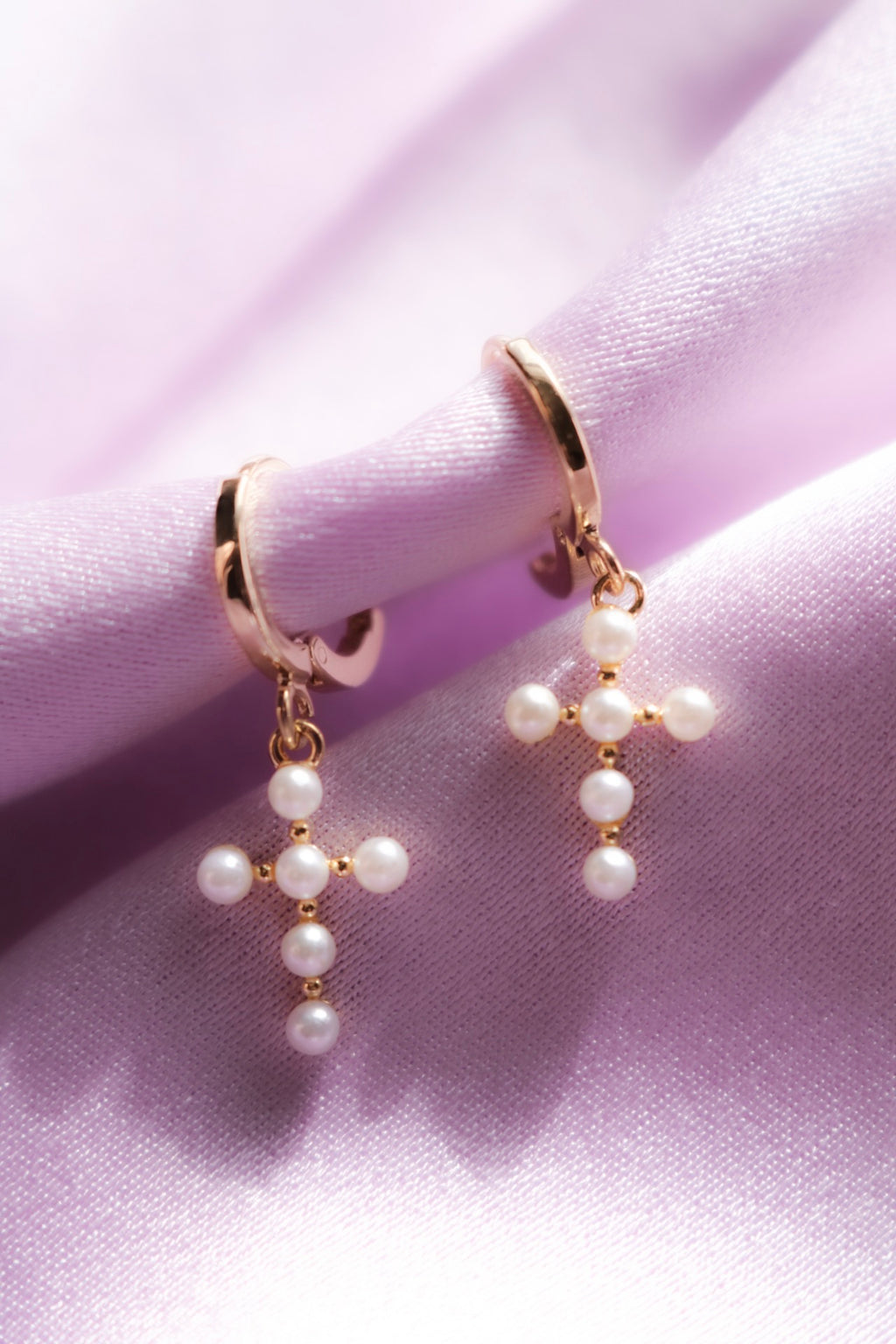 Gold Plated Cross Earrings with Pearl