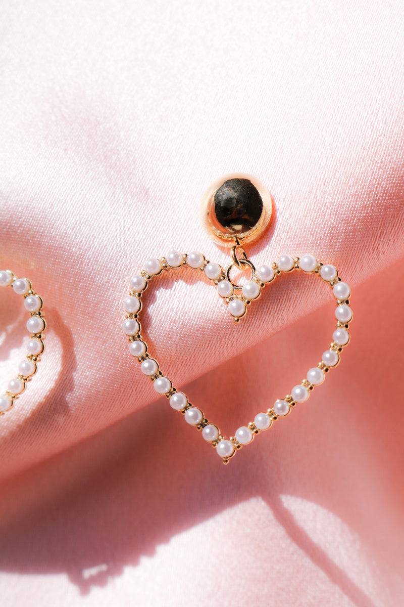 Heart Dangle Earrings with Pearls