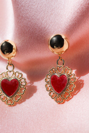 Red Queen Heart Stud Earrings