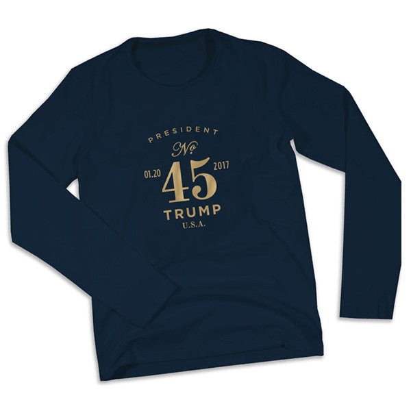 President No. 45 Long Sleeve Tee - Navy