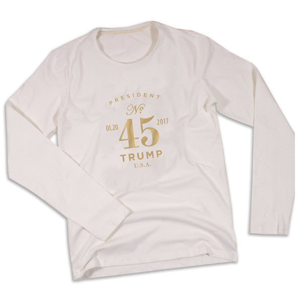 President No. 45 Long Sleeve Tee - White