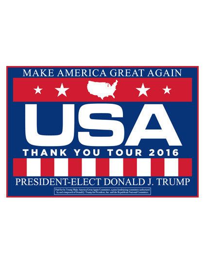 Official USA Thank You Tour Rally Signs - Blue - Set of 2