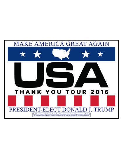 Official USA Thank You Tour Rally Signs - White - Set of 2