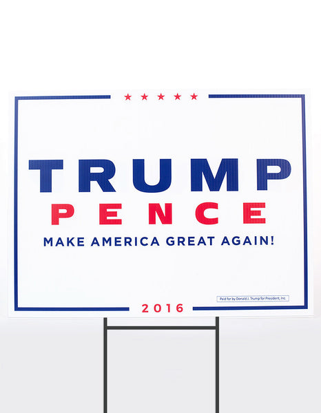 Official Trump-Pence 2016 Yard Sign - White - Set of 2