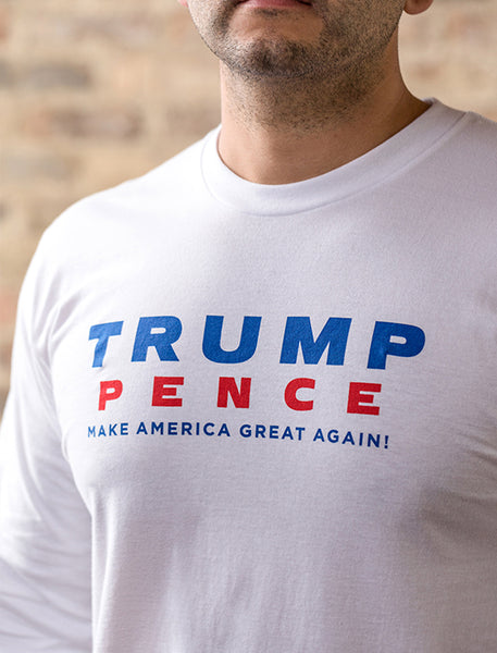 Trump-Pence Make America  Great Again Men's Long Sleeve T-Shirt - White