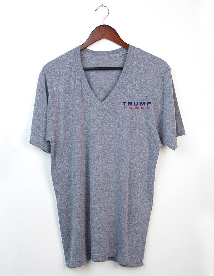 Trump-Pence Make America Great Again Women's SS V-Neck Tee - Gray