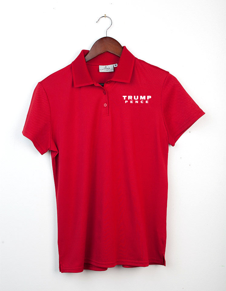 Trump-Pence Women's Dry Wicking Polo - Red