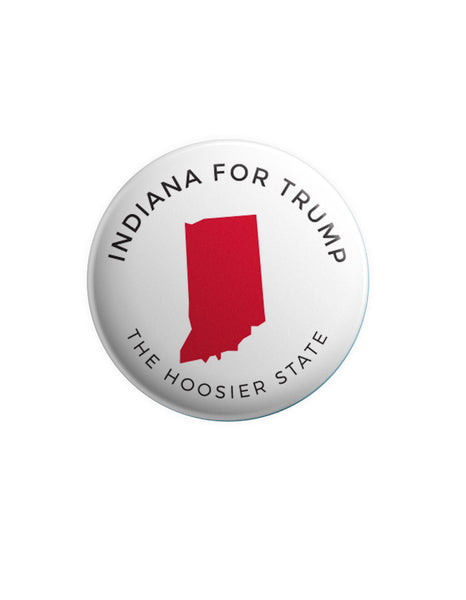Indiana for Trump Button - White