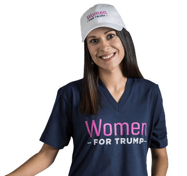 Woman wearing merchandise