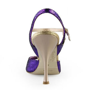 A1 Purple printed leather Heel  8 cm