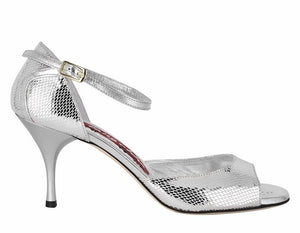 Tangolera A8 Silver printed leather heel 9cm