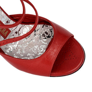 Tangolera A8 B Red leather heel. 9cm