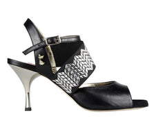 Tangolera E 01 Black Leather, Silver Heel 7 cm